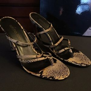 Shoes - Leather snake skin thong sandal, brand new, size 9